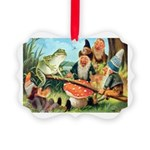 Gnome and Frog on a Seesaw Picture Ornament