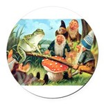 Gnome and Frog on a Seesaw Round Car Magnet