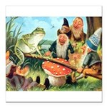 Gnome and Frog on a Seesaw Square Car Magnet 3