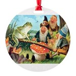 Gnome and Frog on a Seesaw Round Ornament