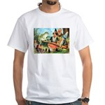Gnome and Frog on a Seesaw White T-Shirt