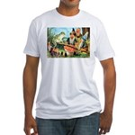 Gnome and Frog on a Seesaw Fitted T-Shirt