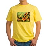 Gnome and Frog on a Seesaw Yellow T-Shirt