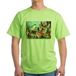 Gnome and Frog on a Seesaw Green T-Shirt