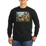 Gnome and Frog on a Seesaw Long Sleeve Dark T-Shir