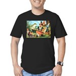 Gnome and Frog on a Seesaw Men's Fitted T-Shirt (d