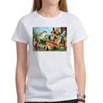 Gnome and Frog on a Seesaw Women's T-Shirt