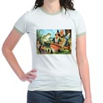 Gnome and Frog on a Seesaw Jr. Ringer T-Shirt