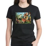 Gnome and Frog on a Seesaw Women's Dark T-Shirt