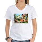 Gnome and Frog on a Seesaw Women's V-Neck T-Shirt