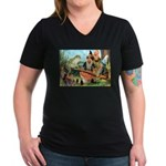 Gnome and Frog on a Seesaw Women's V-Neck Dark T-S