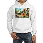 Gnome and Frog on a Seesaw Hooded Sweatshirt