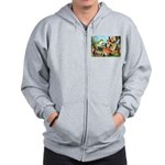 Gnome and Frog on a Seesaw Zip Hoodie