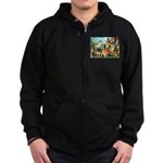 Gnome and Frog on a Seesaw Zip Hoodie (dark)