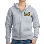 Gnome and Frog on a Seesaw Women's Zip Hoodie
