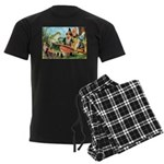 Gnome and Frog on a Seesaw Men's Dark Pajamas