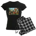 Gnome and Frog on a Seesaw Women's Dark Pajamas
