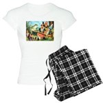 Gnome and Frog on a Seesaw Women's Light Pajamas