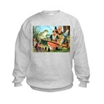 Gnome and Frog on a Seesaw Kids Sweatshirt
