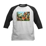 Gnome and Frog on a Seesaw Kids Baseball Jersey