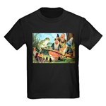 Gnome and Frog on a Seesaw Kids Dark T-Shirt