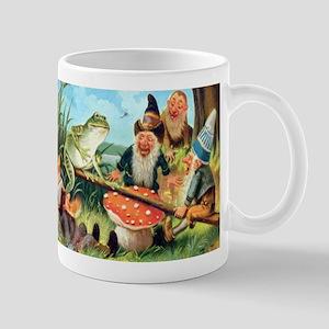Gnome and Frog on a Seesaw Mug