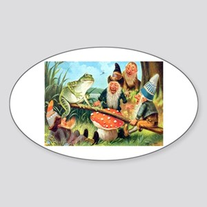 Gnome and Frog on a Seesaw Sticker (Oval)
