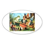 Gnome and Frog on a Seesaw Sticker (Oval 10 pk)