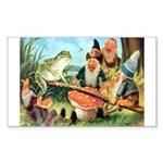 Gnome and Frog on a Seesaw Sticker (Rectangle 10 p