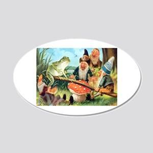 Gnome and Frog on a Seesaw 20x12 Oval Wall Decal