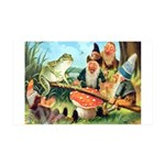 Gnome and Frog on a Seesaw 35x21 Wall Decal