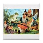 Gnome and Frog on a Seesaw Tile Coaster