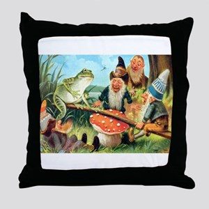 Gnome and Frog on a Seesaw Throw Pillow
