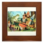 Gnome and Frog on a Seesaw Framed Tile