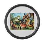 Gnome and Frog on a Seesaw Large Wall Clock