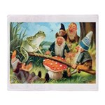 Gnome and Frog on a Seesaw Throw Blanket