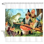 Gnome and Frog on a Seesaw Shower Curtain