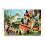 Gnome and Frog on a Seesaw Pillow Case