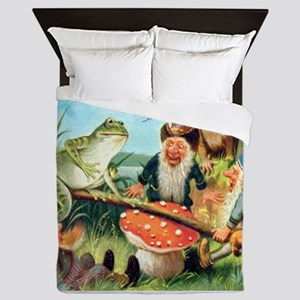 Gnome and Frog on a Seesaw Queen Duvet