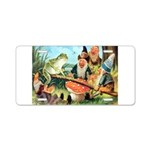 Gnome and Frog on a Seesaw Aluminum License Plate