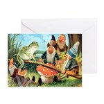 Gnome and Frog on a Seesaw Greeting Cards (Pk of 1