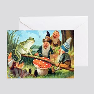 Gnome and Frog on a Seesaw Greeting Card