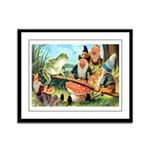 Gnome and Frog on a Seesaw Framed Panel Print