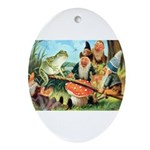 Gnome and Frog on a Seesaw Ornament (Oval)