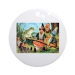 Gnome and Frog on a Seesaw Ornament (Round)