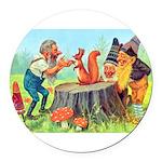 Gnomes Examine a Friendly Squirrel Round Car Magne