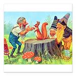 Gnomes Examine a Friendly Squirrel Square Car Magn