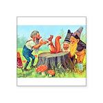 Gnomes Examine a Friendly Squirrel Square Sticker