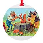 Gnomes Examine a Friendly Squirrel Round Ornament
