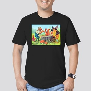 Gnomes Examine a Friendly Squirrel Men's Fitted T-